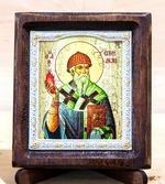 Спиридон Тримифунтский (факел), Икона Византикос, полуоклад, 8Х6