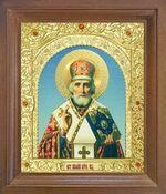 Николай Чудотворец. Икона в деревянной рамке с окладом (Д-26псо-26)