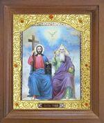 Троица. Икона в деревянной рамке с окладом (Д-26псо-61)
