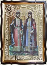 Борис и Глеб (рост), в фигурном киоте, с багетом. Храмовая икона 60 Х 80 см.