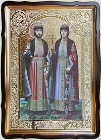 Борис и Глеб (рост), в фигурном киоте, с багетом. Храмовая икона 80 Х 110 см.