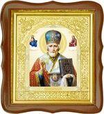 Николай Чудотворец, средняя аналойная икона, фигурный киот (Д-17фс-27)