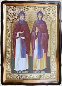 Петр и Феврония, в фигурном киоте, с багетом. Большая Храмовая икона 80 Х 110 см.