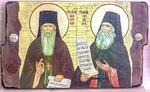 Амвросий и Силуан Св. Прп., икона под старину, сургуч, (30x17)