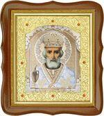 Николай Чудотворец, средняя аналойная икона, фигурный киот (Д-20фс-29)
