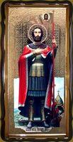 Александр Невский (рост), в фигурном киоте, с багетом. Большая Храмовая икона 120 х 230 см.