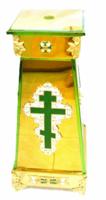 Подставка (тумба) под хоругви, кресты, иконы запрестольные, средняя, с литым крестом, херувимами, литыми накладками, литыми ножками