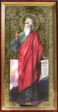 Илья Пророк (рост, свиток), в фигурном киоте, с багетом. Храмовая икона 60 Х 114 см.