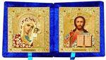 Складень бархат (Б-22-3-СЦО) цвет синий, малый, цветное одеяния, лик 10Х12