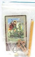 Георгий Победоносец (молитва православных воинов). Набор для домашней молитвы (Zip-Lock). Лик, молитва, свечка, ладан, крестик