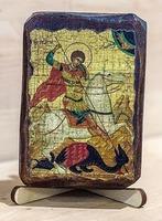 Георгий, убивающий змея, икона под старину, сургуч (8 Х 10)