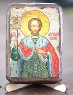 Александр Невский, икона под старину, сургуч (8 Х 10)