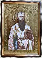 Василий Великий (пояс), в фигурном киоте, с багетом. Храмовая икона 60 Х 80 см.