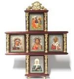 Иконостас домашний в резном киоте, крест, 5 ликов, Матрона Московская, 30 Х 25 см.