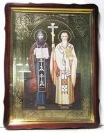 Кирилл и Мефодий, в фигурном киоте, с багетом. Храмовая икона 60 Х 80 см.