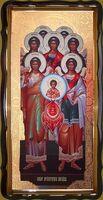 Собор Архистратига Михаила, в фигурном киоте, с багетом. Храмовая икона 60 Х 114 см.