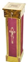 Кружка для сбора пожертвований, напольная квадратная, латунь, дерево, ДСП, цвет красный