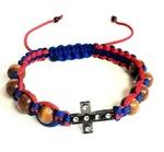 Браслет (150) плетеный синий с красным, с крестом