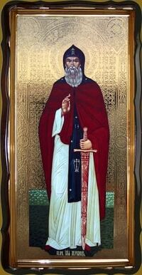 Илья Муромец (рост), в фигурном киоте, с багетом. Большая Храмовая икона 120 х 230 см.