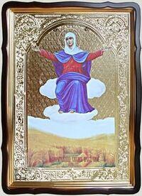 Спорительница хлебов Б.М., в фигурном киоте, с багетом. Храмовая икона 80 Х 110 см.