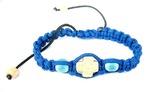 Браслет (163) плетеный, с дер. вставками, крест, цвет синий