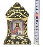 Спаситель, керамика, икона средняя, цвет золото (СА).