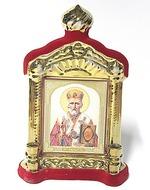 Николай Чудотворец, керамика, икона купол большая, флокированная, цвет красный - золото (СА).