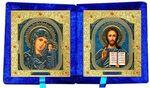 Складень бархат (Б-21-4-СУ) цвет синий, средний, узор, лик 15х18