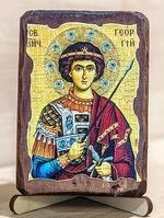 Георгий Победоносец (пояс), икона под старину, сургуч (8 Х 10)
