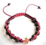 Браслет (138) плетеный черный с красным, с крестом