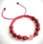 Браслет (140) плетеный красный, с крестом