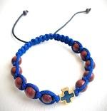 Браслет (142) плетеный синий, с крестом