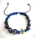 Браслет (143) плетеный синий с черным, с крестом