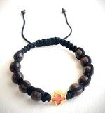 Браслет (144) плетеный черный, с крестом