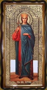 Екатерина, Св. муч., (рост), в фигурном киоте, с багетом. Храмовая икона 60 Х 114 см.