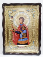 Уар, Св.муч., (пояс), в фигурном киоте, с багетом. Храмовая икона (60 Х 80)