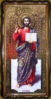 Спаситель (рост), в фигурном киоте, с багетом. Большая Храмовая икона 120 х 230 см.