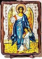 Ангел с детьми, икона под старину, на дереве (8x10)