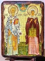 Киприан и Устиния, икона под старину, на дереве (8x10)