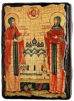 Петр и Феврония, икона под старину, на дереве (8x10)