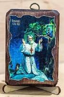 Серафим Саровский (моление на камне), икона под старину, на дереве (8x10)
