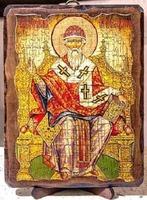 Спиридон Тримифунтский (трон), икона под старину, на дереве (8x10)