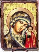 Казанская Б.М., икона под старину, на дереве (21х28)