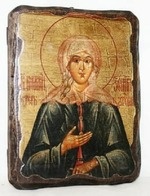Ксения Петербургская, икона под старину, на дереве (21х28)