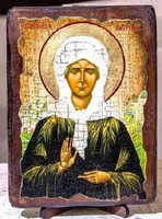 Матрона Московская, икона под старину, на дереве (21х28)