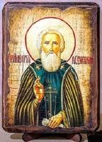 Сергий Радонежский (пояс), икона под старину, на дереве (17х23)