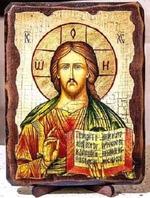 Спаситель, икона под старину, на дереве (21х28)