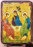 Троица Рублевская, икона под старину, на дереве (21х28)
