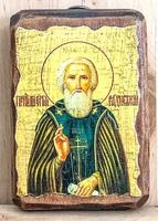 Сергий Радонежский (пояс), икона под старину, на дереве (8x10)