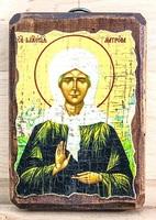 Матрона Московская, икона под старину, на дереве (8x10)